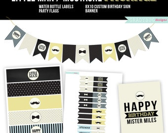 Mustache Birthday Printables, Cupcake Toppers, Water Bottle Labels, Birthday Print, Printable Banner, Little Man Birthday, Instant Download