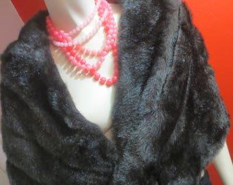 SALE Vintage Ladies Black Faux Fur Shrug Shawl Wrap Regal Glam Old Hollywood