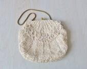 White Cream Beaded Sequin Evening Formal Handbag / Beaded Clutch / Evening Purse / Sequins