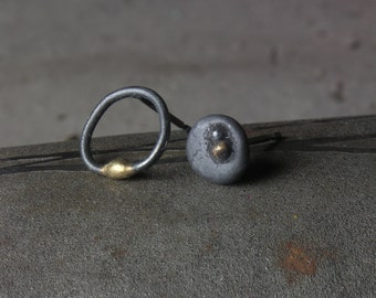 Asymmetrical Stud Earrings in silver and 18ct gold
