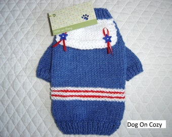 Sailor Dog Sweater, Hand Knit, Trimmed with Collar and Star Buttons, Size XSMALL, Little Salty Blue