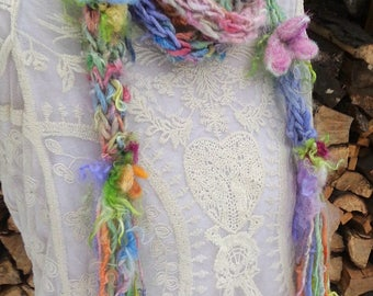 hand knit extra long soft alpaca art yarn patchwork flower scarf -  gypsy joy flower scarf