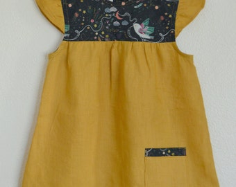 Toddler and Youth Girls Mustard 100% Linen and Navy & Rainbow Bird Print Cotton Dress/ Tunic. Sizes 12 months to 8 years.