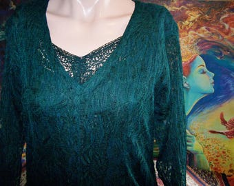 Lace Dress, 80s Lace dress, Green Lace dress, Emerald Lace dress, Forest Green dress, M