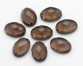 Oval Smoky Quartz  Cabochon - ONE 10mm x 14mm Checkerboard Cut Faceted Dark Brown