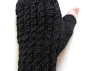 Black Handknit Fingerless Gloves for Women, Teen Girls, Texting Gloves, Hand Warmers, cable pattern, super wash merino wool, gift for women