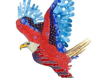 American Eagle Art Print Wall Art Patriotic Giclee Print