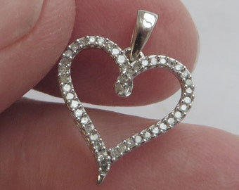 "10K w gold Diamond Heart ""love"" Pendant for your own chain, 40+ tiny real diamonds, free US first class shipping on vintage"