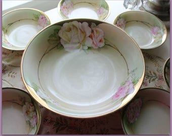 Beautiful hand painted Berry bowl set with pink roses Lovely