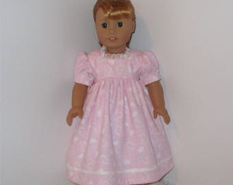 "Pink Heart Nightgown, Fits 18"" Dolls // AG Nightgown, American Girl, AG Doll Clothes, Sleepwear, AG PJs, Pink Nightgown, Hearts"