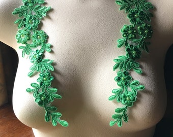 GREEN Beaded Applique Pair for Lyrical Dance, Bridal, Headbands, Sashes PR 198kg