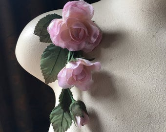 Pink Silk Rose Spray for Bridal, Millinery or Floral Supply MF