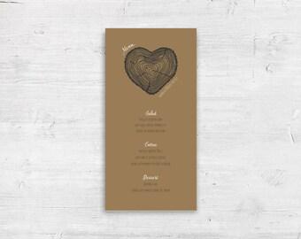 "Log Heart / Lumberjack Plaid Design Flat Wedding Menu - 4x8"" or 5x7"" - Dinner Menus"