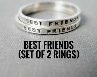 Sets of Best Friend Rings - Solid Sterling Silver