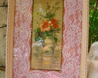 Antique H. Hallett & Co. 1880 Birthday Print Framed Beautiful