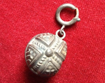 Lovely french antique silver sterling charm ball pendant