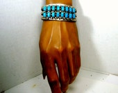 Native American Style Silver Turquoise Open CUFF Bracelet 1970s, Oxidized Silver Southwestern USA Navajo Style