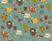 Sale! Bear Country Teal Camping Flannel Fabric - Alpine Fabrics by The RBD Designers 2110 - you choose the size