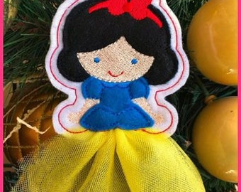In the Hoop 3D Skirt Princess Christmas Ornament 4 4x4 Machine Embroidery