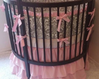 Round Crib Bedding Set Pink and Gray Damask Ruffled Made to Order