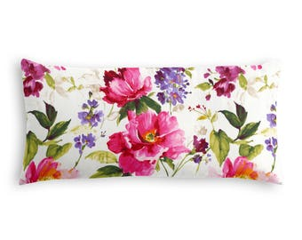 "Beautiful Chintz-like Pink Floral Lumbar Pillow 12 x 24"" / Made To Order"