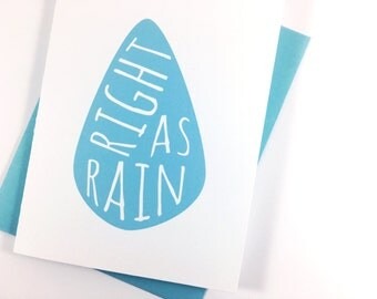 Get Well Card, Blue Raindrop Greeting Card, Typography - single