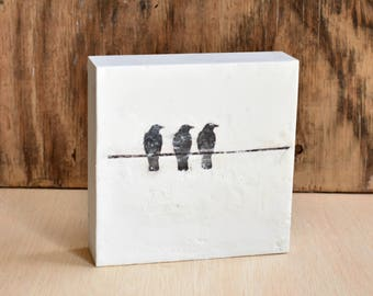 "Girlfriends, Friendship, Black & White Art, Girlfriend Gift, Gift for Her, Modern Art, Bird Painting,  Friend Ship Art, Bird on a Wire 6""x6"""