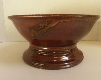 handmade STONEWARE Pedestal Bowl, Pottery Bowl