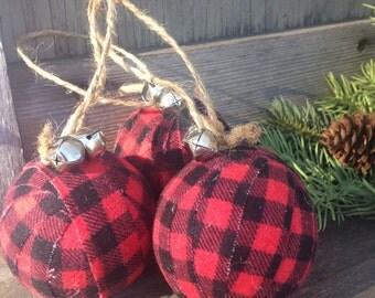 Rustic Christmas Lumberjack Plaid Ornament
