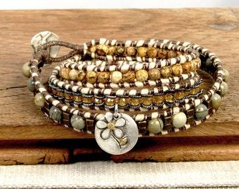 Wrap Bracelet with Flower Charm