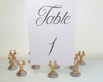 Glitter & Gold Place Card Holder Set of 12 Stainless Steel Painted Harp Clip for Buffet Marker, Made to Order, Wedding Table Number Holder