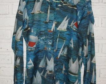 1970s Joe Namath Arrow Men's Shirt Long Sleeve Button Down Sailboats Nautical Blue Nylon Disco Shirt Retro