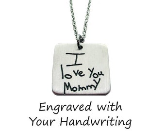 Custom Handwriting Square Pendant Necklace with your loved one's actual handwriting, Pewter