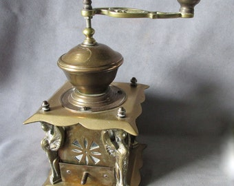 Rare Antique Bronze European Coffee Mill Grinder with Sphinx