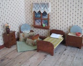 RESERVED -Vintage KAGE Dollhouse Furniture- Five Piece Bedroom Set w/ Hard To Find Matching Vanity and Bench! - 3/4 Scale