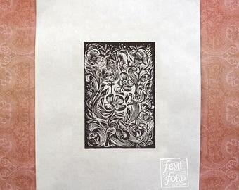Dogwood Dream Linocut Art Print