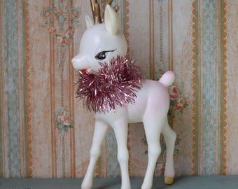 Vintage Soft Plastic Deer Reindeer Christmas Decoration Hong Kong