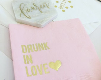 50 cocktail Drunk In Love classic pink napkins with metallic gold foil with heart