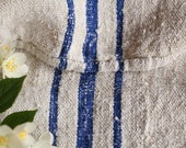 EP 287 A : antique handloomed ROYAL BLUE ; grainsack pillow cushion runner 43.31long wedding, french lin,spring, vintage