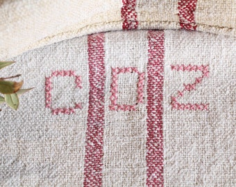 B 837 : Grain Sack antique linen, beautiful FADED RASPBERY RED, pillow benchcushion 리넨, lin, 40.94 long, wedding, decoration