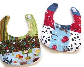 Gender Neutral Baby Bibs Set of 2 a Patchwork Baby  Bibs - Cowboy Cowgirl Bib - Forest Animals Bib