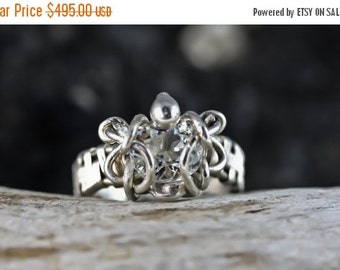 10% OFF HOLIDAY SALE Aquamarine - Wire Wrapped Engagement / Wedding Ring - Unique Original Design by Philip Crow