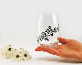 Whale shark glass - Hand painted stemless white wine glass