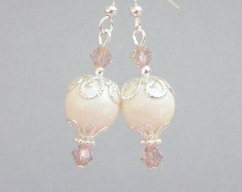 Dainty ivory pearl earrings, off white pearl, Swarovski crystal pearls, silver filigree, bridal earrings, 10mm bridesmaids earrings