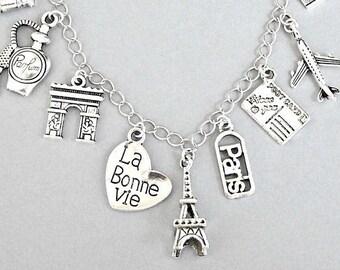 Paris charm bracelet, Paris necklace, France bracelet, Paris bracelet, Eiffel Tower, travel charm, La Bonne Vie, love travel gift for her