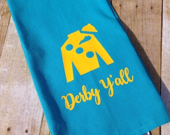 Aqua hand towel with yellow Jockey Silk, Kentucky Derby hand towel, Derby decor