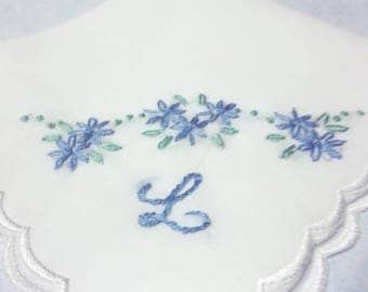 Brides hankie, Something blue, wedding handkerchief, hand embroidered, bouquet wrap, initial / monogram, other colors welcome, bridal gift