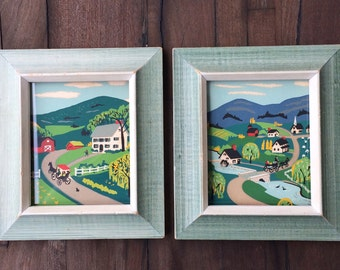 Vintage Antique Pictures of Old Town with House, Mill, Barn, Willow Trees and Horse Drawn Carriages 40's 50's Miniature Prints