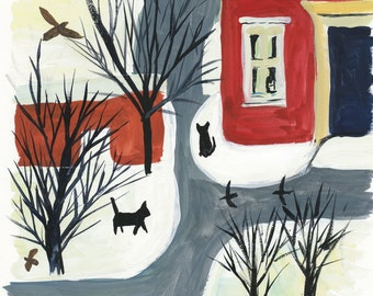 Print of Winter Town with Cats, Archival Art print of original painting, 8x8, red and gray painting, Modern Wall Art