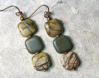 Natural stone earrings, Boho earrings, Red Creek Jasper Earrings, Boho Jewelry, Earthy Earrings
